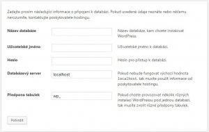 instalace wordpress nastaveni databaze