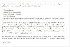 instalace WordPress krok první