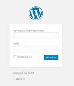 prihlaseni do wordpress