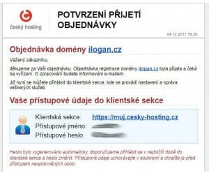cesky-hosting.cz - objednani wehbostingu - email pristupove udaje