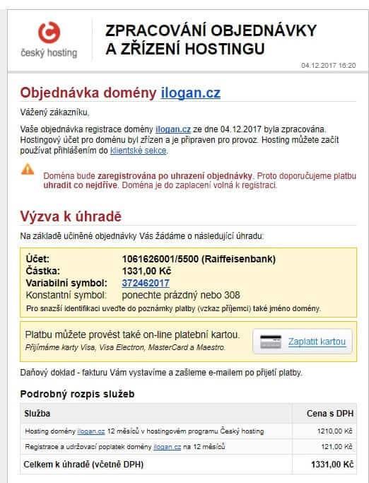 cesky-hosting.cz - objednani wehbostingu - email vyzva k zaplaceni