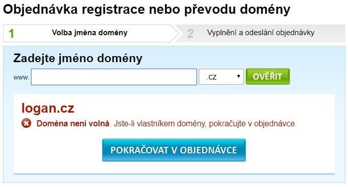 cesky-hosting.cz - objednani wehbostingu - kontrola domeny - obsazeno