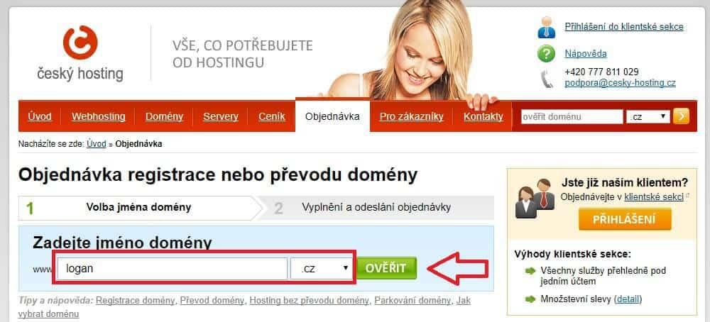 cesky-hosting.cz - objednani wehbostingu - kontrola domeny