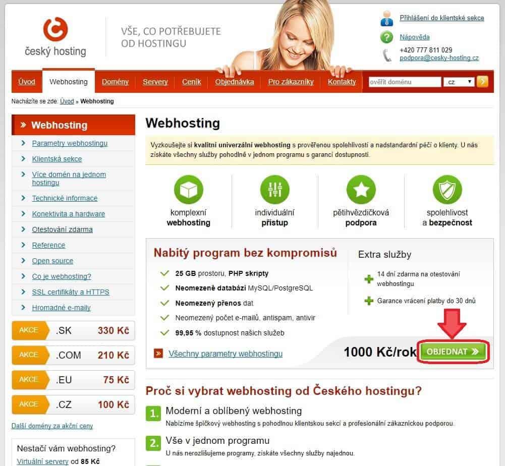 cesky-hosting.cz - objednani wehbostingu - prvni krok