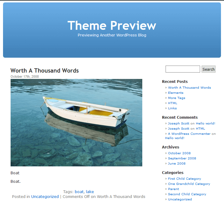 wordpress sablona 2005 default