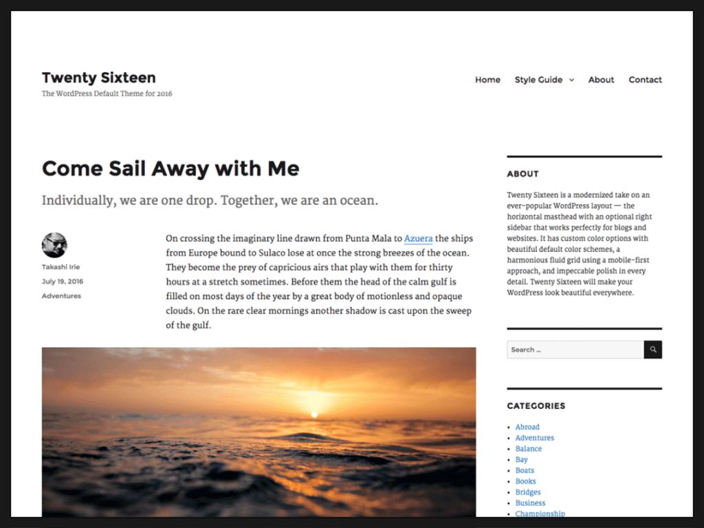 wordpress sablona 2016