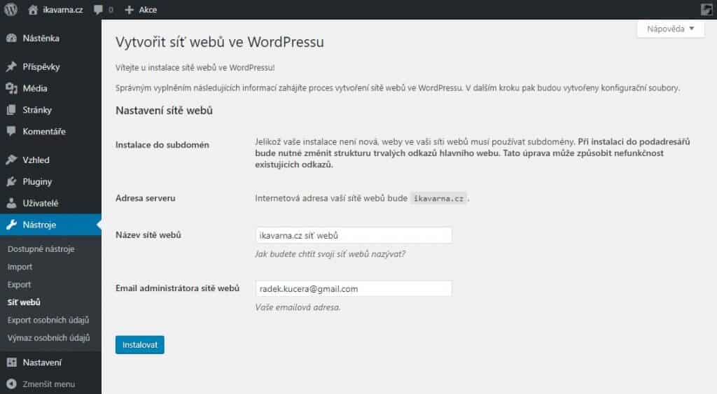 wordpress_multisite_vytvoreni_site_webu