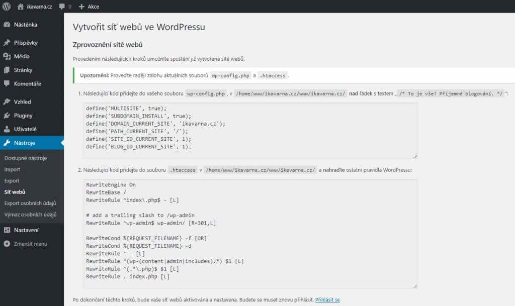 wordpress_multisite_vytvoreni_site_webu_editace_htaccess_wp-config