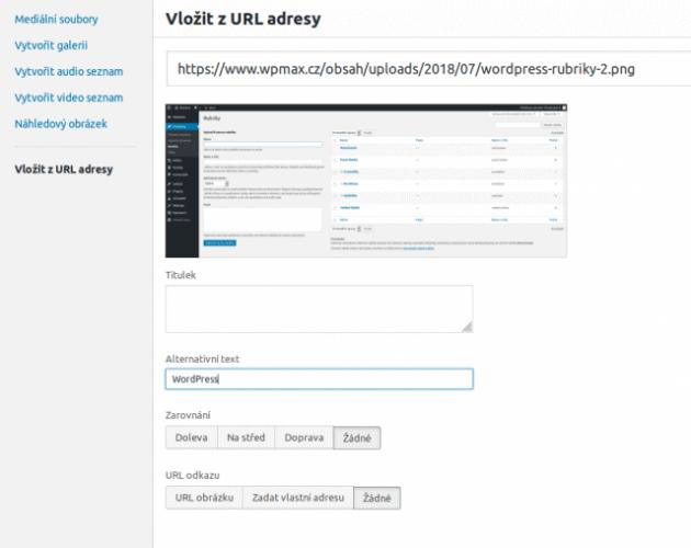 Vkládání obrázku přes URL za pomoci vizuálního editoru