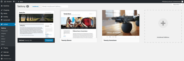 prehled-sablon-v administraci WordPress