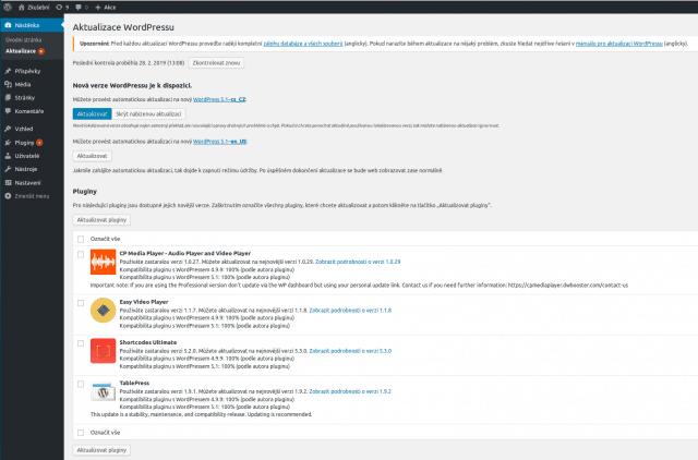 wordpress-administrace-aktualizace-prehled