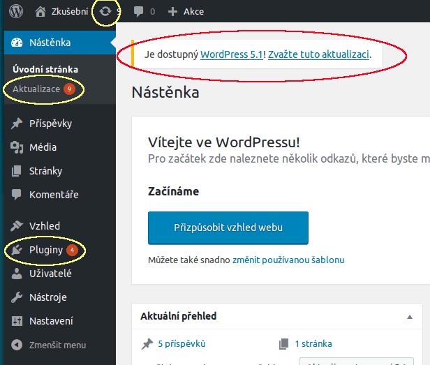 wordpress-administrace-upozorneni-na-aktualizace