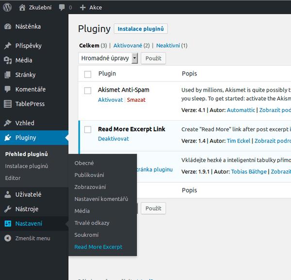 wordpress pluginy plugin v nastaveni