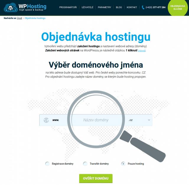 wp-hosting objednávka webhostingu