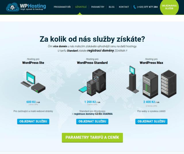 wp-hosting přehled webhostingu