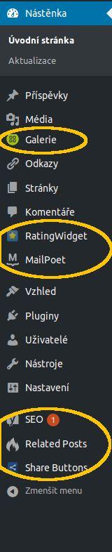 administrace wordpress polozky pluginu