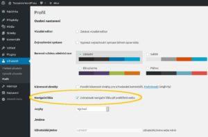 administrace wordpress profil navigacni lista