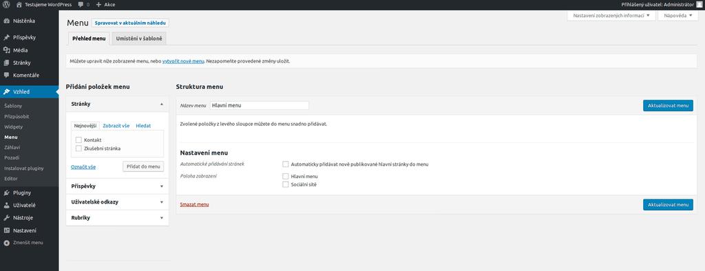 WordPress vytvoření nového menu 2