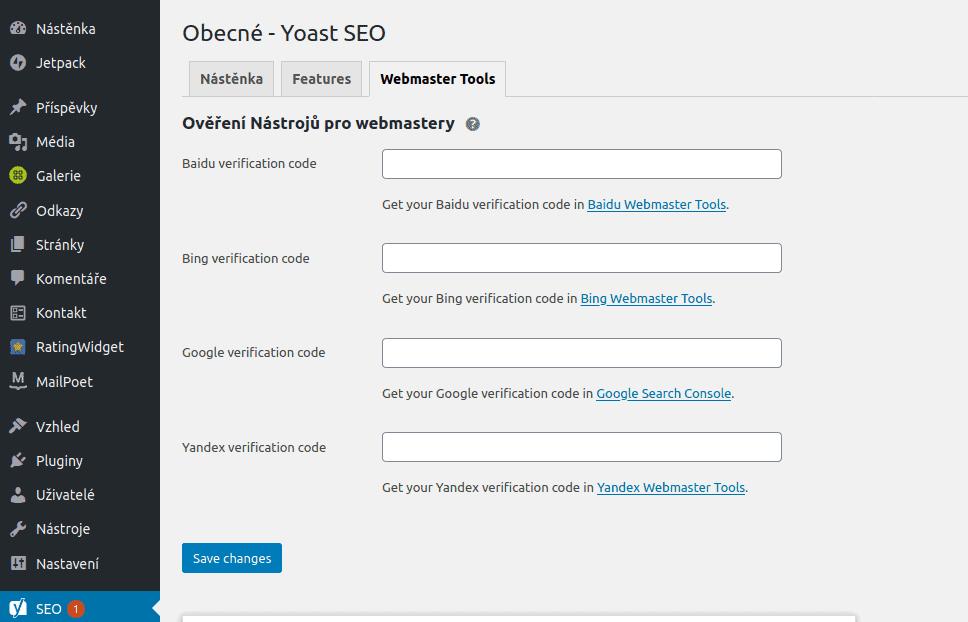 Plugin Yoast SEO - Webmaster tools