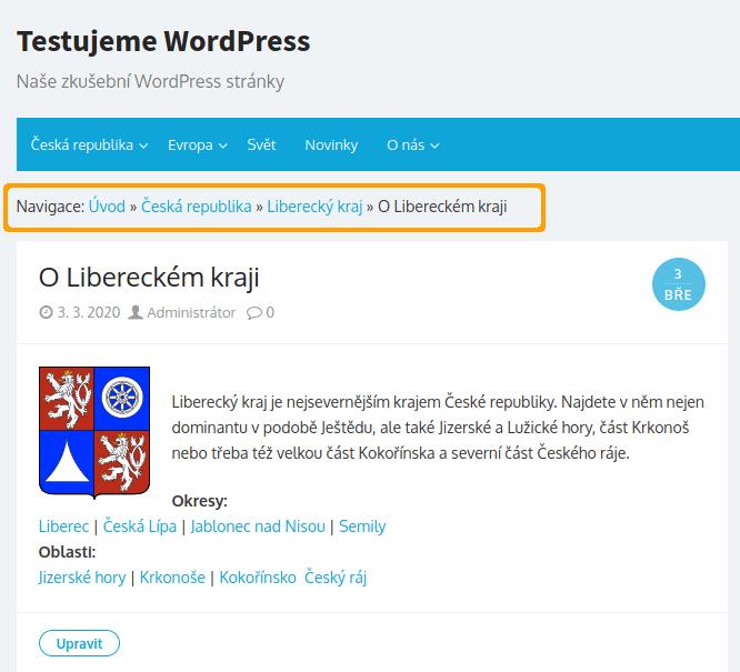 Yoast SEO - zobrazení drobečkové navigace na webu s rubrikami u článku