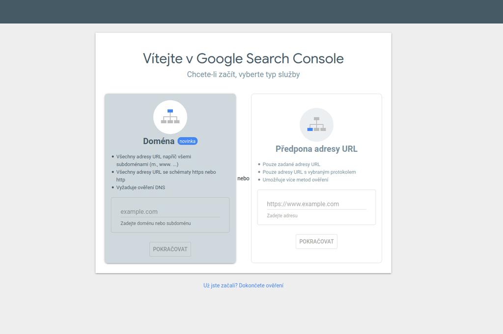 Google Search Console - výběr služby