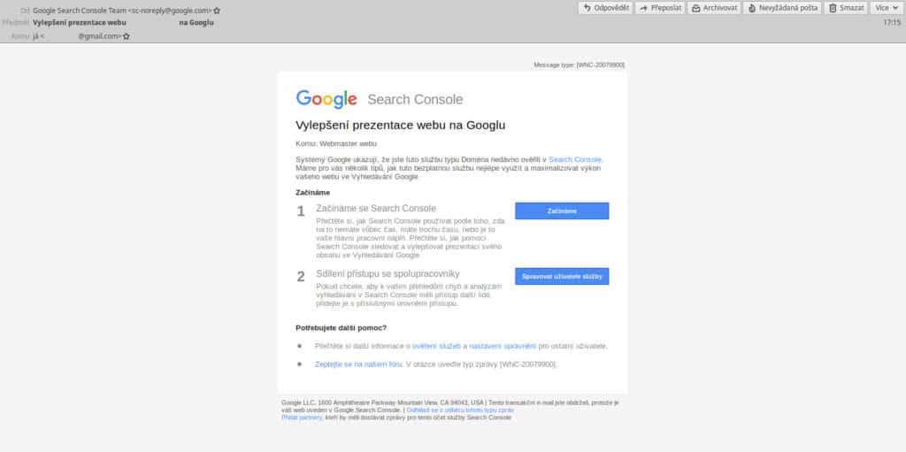 Google Search Console - e-mail po úspěšném přidání nové služby