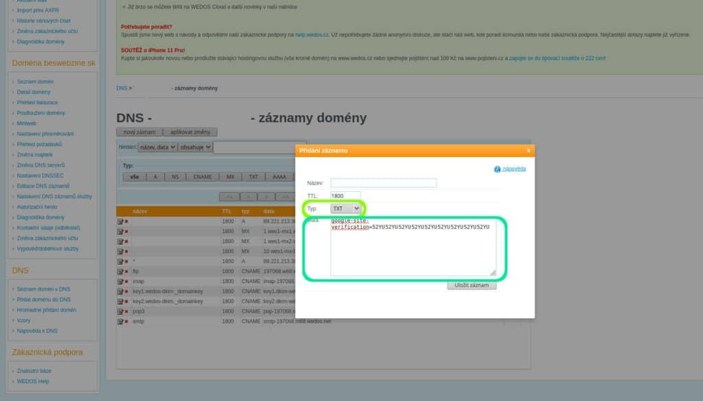 Wedos - přidání záznamu DNS