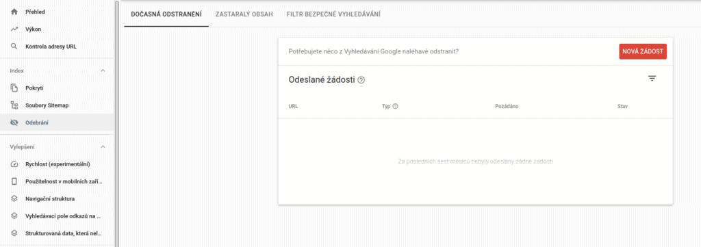 Google Search Console - Odebrání