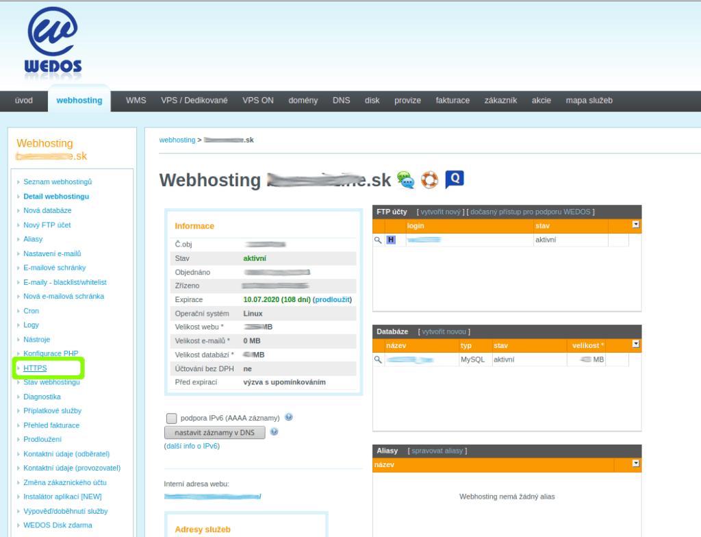 Nastavení HTTPS na Wedosu