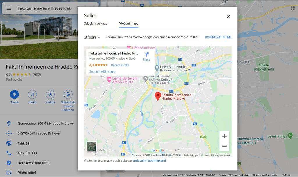 Googly mapy - sdílení