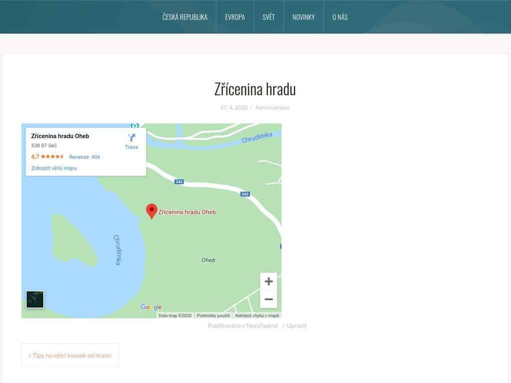 Google mapy v článku
