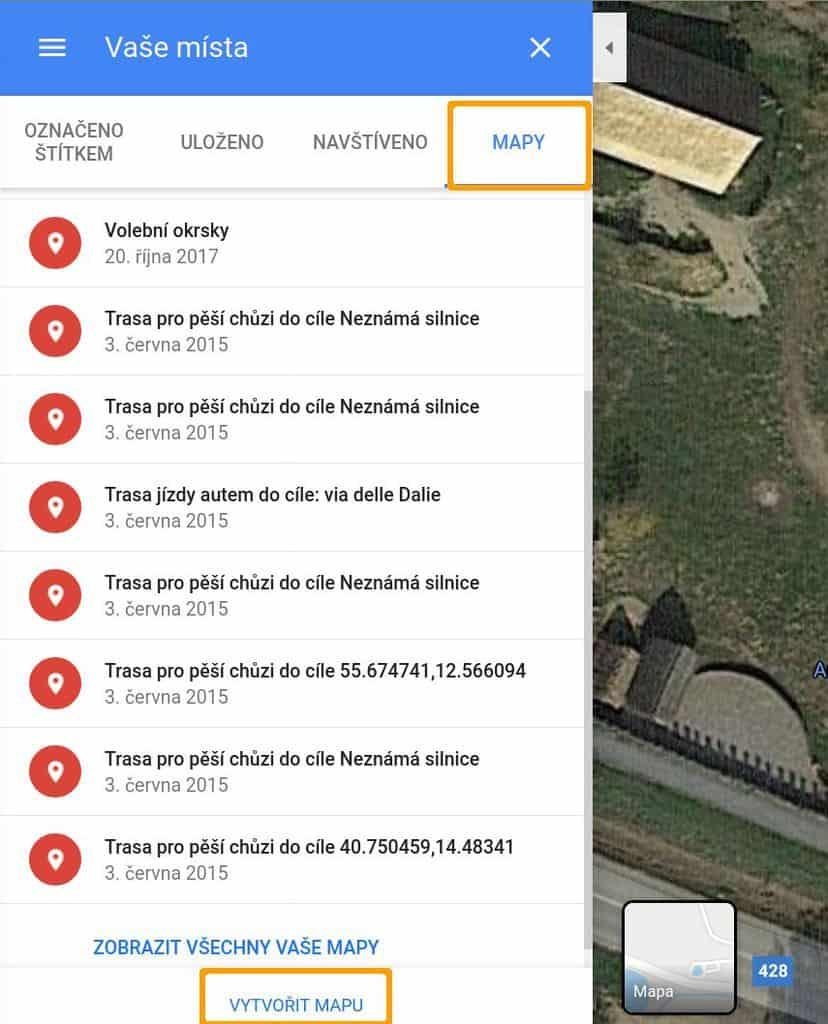 Google mapy - vlastní mapa