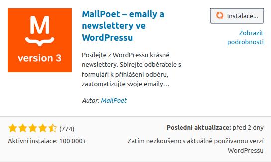 MailPoet - novinky e-mailem