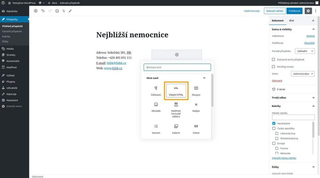 Mapy.cz -  vložení mapy na stránky