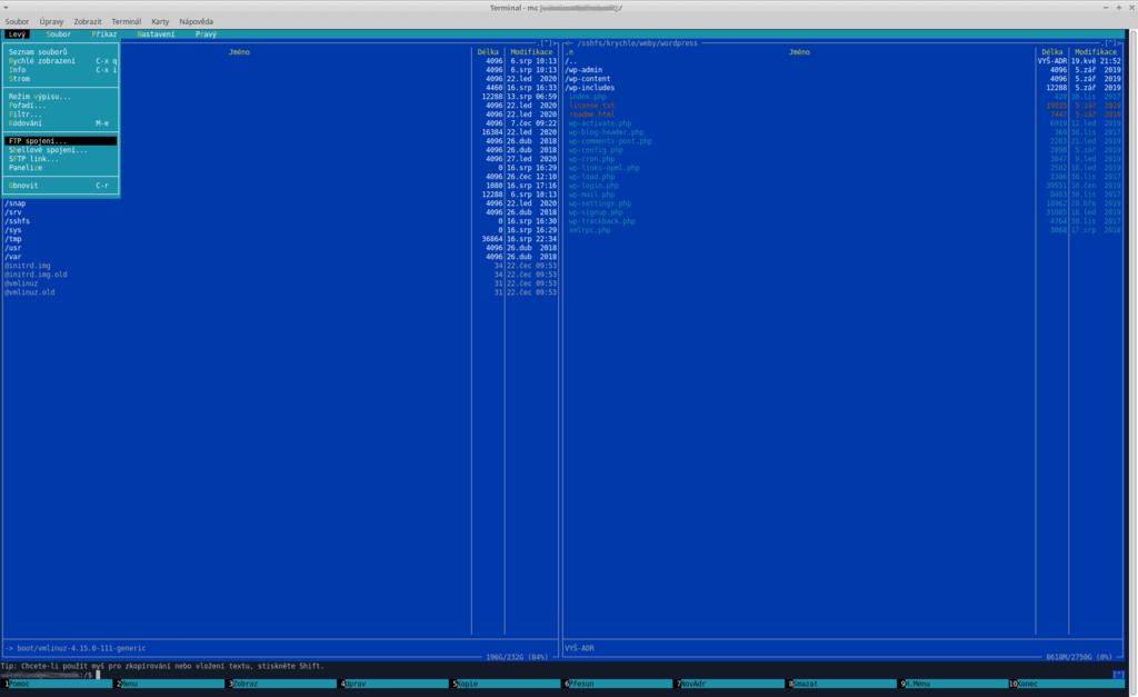 Jak pracovat s FTP - Midnight Commander