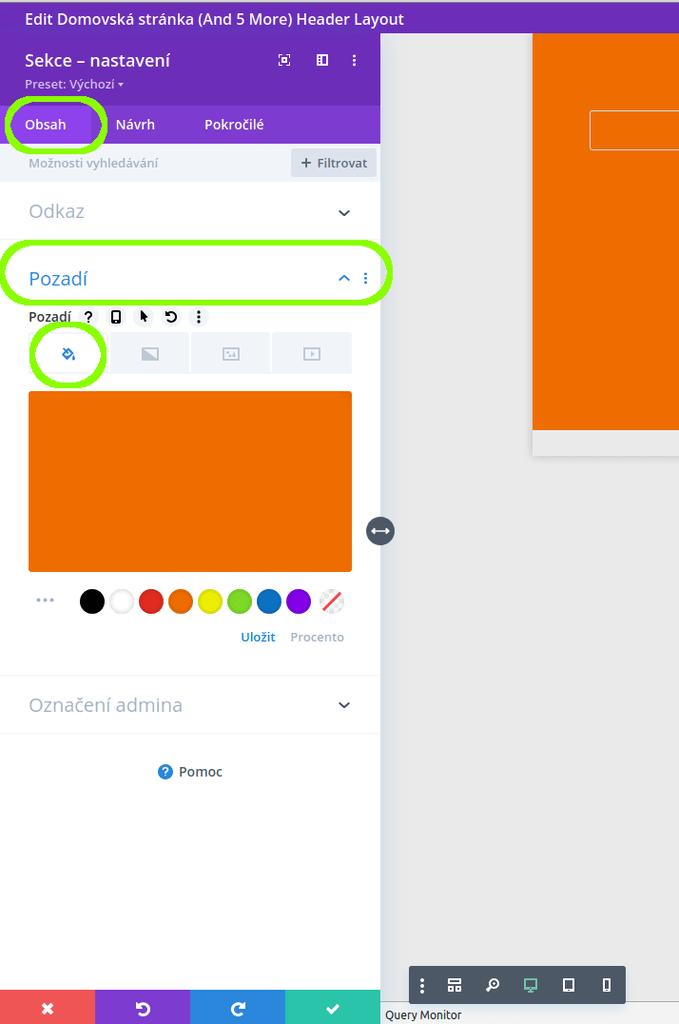 Nastavení barevného pozadí v šabloně Divi