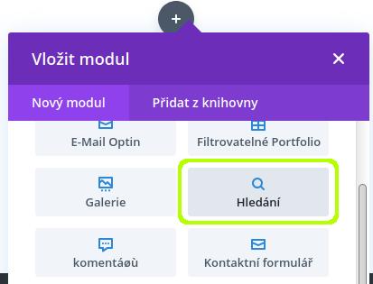 Divi modul - hledání