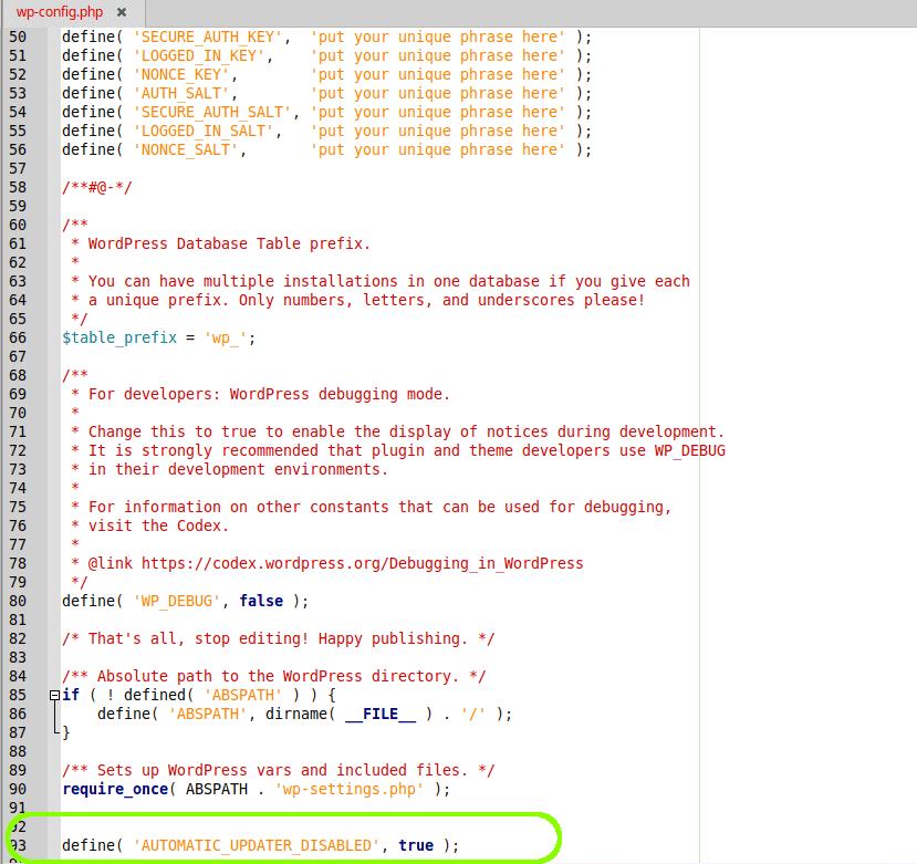 Jak vypnout automatické aktualizace pomocí wp-config.php
