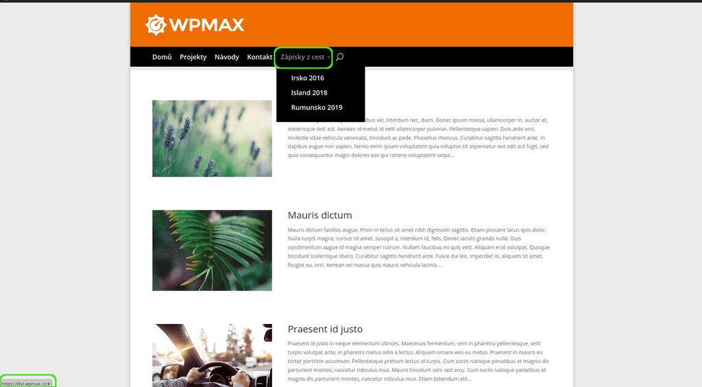 WordPress - položka v menu