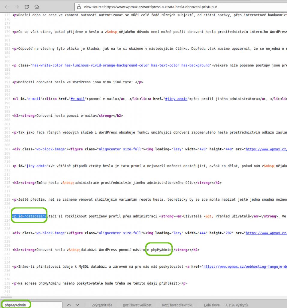 Vyhledávání id atributů v html zdroji