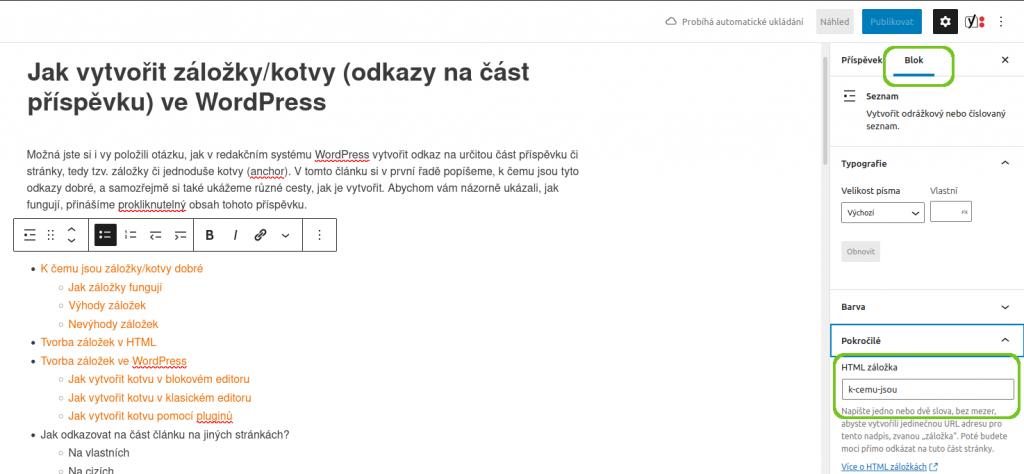 Wordpress - záložky/kotvy v blokovém editoru